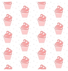 Pink cupcake seamless pattern Sweet cake texture vector image vector image