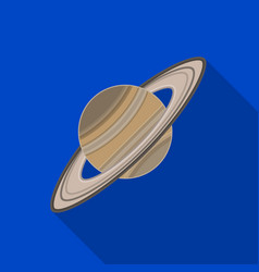 saturn icon in flat style isolated on white vector image