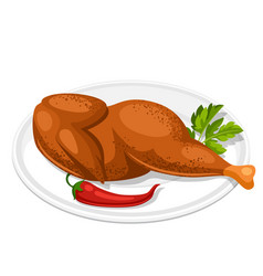 Smoked chicken with parsley leaf and chili on vector