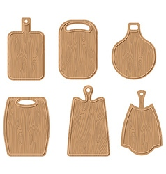 Wooden cutting board set Kitchen cutting board vector image
