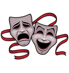 comedy and tragedy theater masks vector image vector image