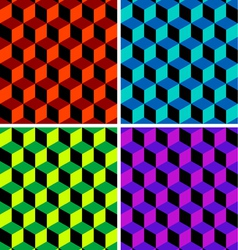 four cubic seamless patterns vector image vector image