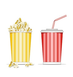 Popcorn and coke cup vector image
