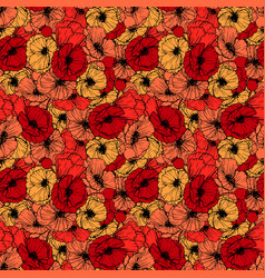 Red poppies seamless pattern summer flowers in vector