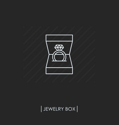 ring with diamond in box outline icon isolated vector image vector image