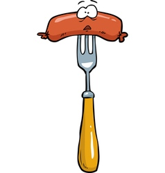 sausage on a fork vector image vector image