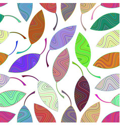 seamless pattern from multi-colored striped leaves vector image