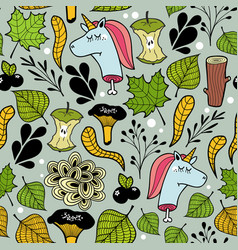 seamless pattern with unicorns and plants vector image vector image