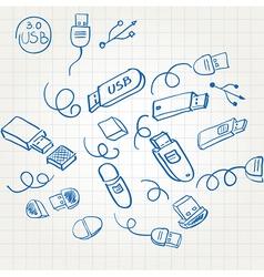 Sketch set usb flash memory card vector