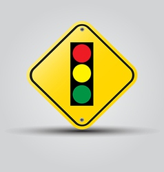 traffic light over yellow sign on white vector image vector image