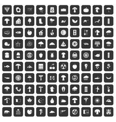 100 mushrooms icons set black vector