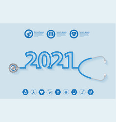 2021 new year creative design with stethoscope vector
