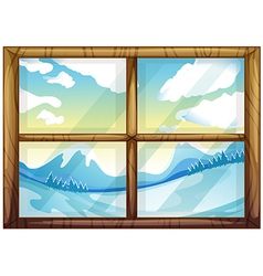 A view of the winter from the window vector