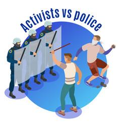 Activists isometric round background vector