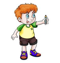 An Asian boy holding a pencil vector