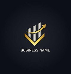 Arrow business finance gold logo vector