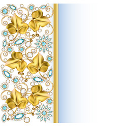 Background frame with jewels ornaments vector