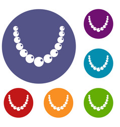 Bead icons set vector