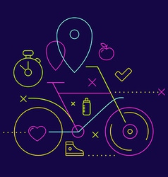 bicycle on a dark background with different spor vector image