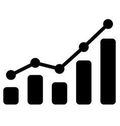black bar chart icon on white background vector image