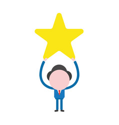 businessman character holding up yellow star vector image