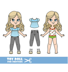 Cartoon girl with long blond hair in underwear vector