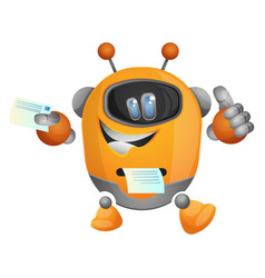 cartoon robot as a printer on white background vector image
