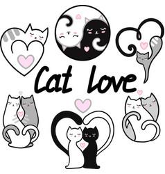 cats set hand drawn vector image