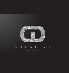 Cd c d letter logo with zebra lines texture vector
