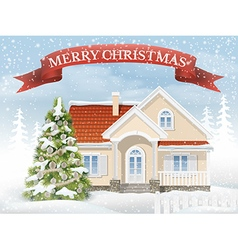 Christmas scene suburban house and fir tree vector
