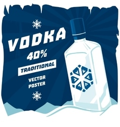 Cold or frozen glassware bottle of vodka vector image