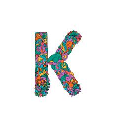 Colorful ornamental alphabet letter k font vector