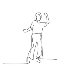 continuous one line dancing woman with fancy vector image