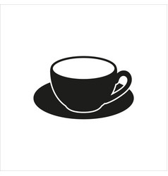 cup and saucer - icon in simple monochrome vector image