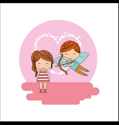 cupid boy and little girl valentine card heart vector image