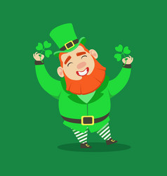 cute cartoon dwarf leprechaun with four leaf vector image