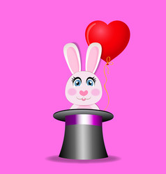 cute rabbit with red heart balloon sitting in vector image