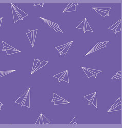 cute seamless pattern with origami plane vector image