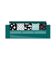 Cyan fabric three-seat modern sofa with modern vector