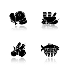 Dish ingredients drop shadow icons set vector