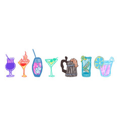 doodle alcoholic beverages colored bright vector image