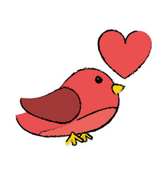drawing pink cute bird heart loveling vector image