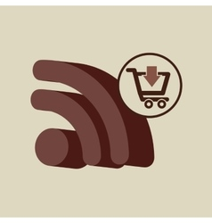 Ecommerce with wifi connected icon vector