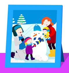 Family photo in winter vector