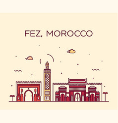 fez skyline morocco trendy linear style vector image