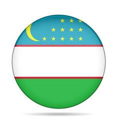flag of uzbekistan shiny black round button vector image