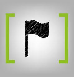 flag sign black scribble vector image