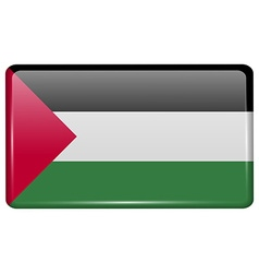 Flags Palestine in the form of a magnet on vector image