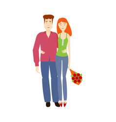 Flat young couple hugging each other vector