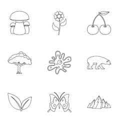 Flora icons set outline style vector image